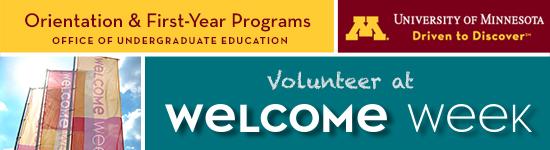 (Please load images) Welcome Week Volunteer header